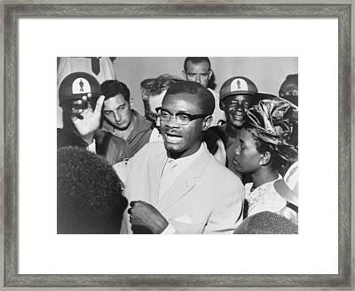 Patrice Lumumba 1925-1961 Speaking Framed Print by Everett