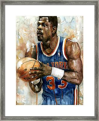 Patrick Ewing Framed Print by Michael  Pattison