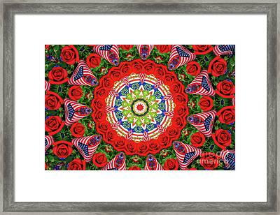 Patriotic Circle Framed Print by Geraldine DeBoer