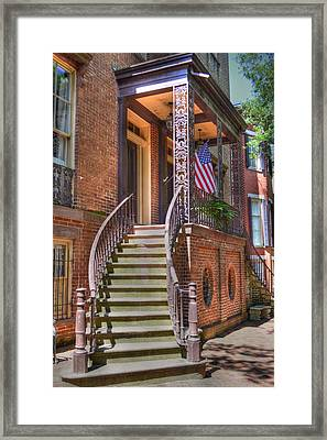 Patriotic Jones Street Framed Print by Linda Covino