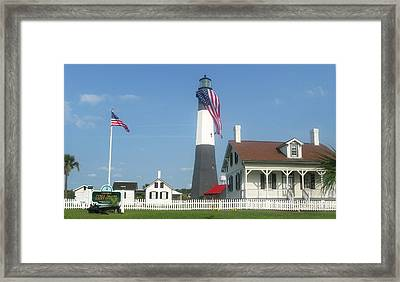 Patriotic Lighthouse Framed Print by Juliana  Blessington