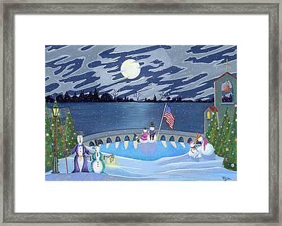 Patriotic Snowmen Framed Print by Thomas Griffin