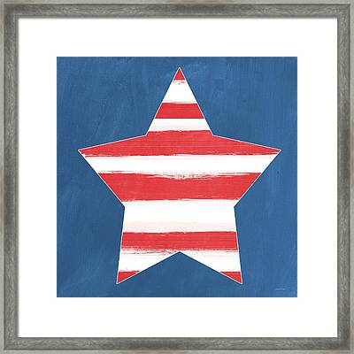 Patriotic Star Framed Print by Linda Woods