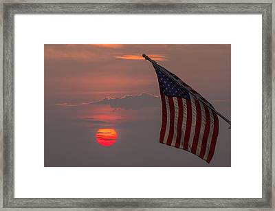Patriotic Sunset Framed Print by Mark Papke