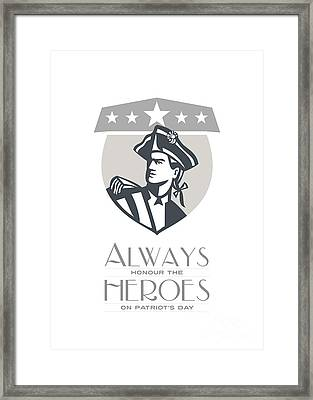 Patriots Day Greeting Card American Patriot Looking Up  Framed Print by Aloysius Patrimonio