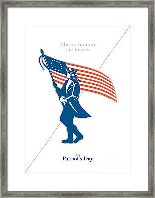 Patriots Day Greeting Card American Patriot Soldier Flag Marching Framed Print by Aloysius Patrimonio