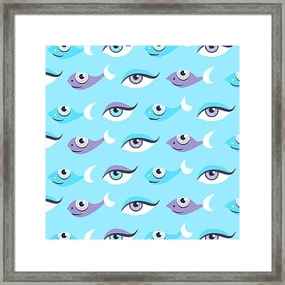 Pattern Of Blue Eyes And Fish In Sea Framed Print by Boriana Giormova
