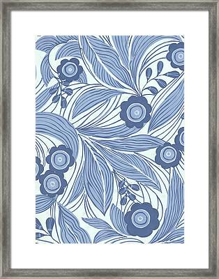 Pattern With Blue Leaves, Flowers Framed Print by Gillham Studios