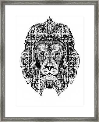 Patterned Lion Framed Print by Harold Belarmino
