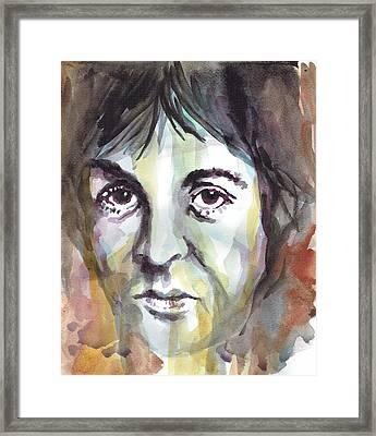 Paul Mccartney Portrait 1 - By Diana Van Framed Print by Diana Van