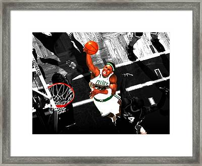 Paul Pierce In The Paint Framed Print by Brian Reaves
