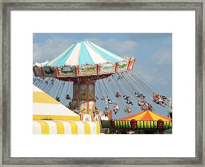 Pavilion Swings Framed Print by Kelly Mezzapelle