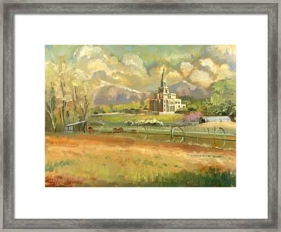 Payson Temple Plein Air Framed Print by Jeff Brimley
