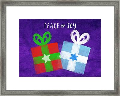 Peace And Joy- Hanukkah And Christmas Card By Linda Woods Framed Print by Linda Woods