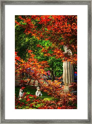Peace Garden - St Leonard's Church - Boston Framed Print by Joann Vitali