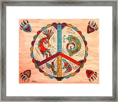 Peace Love And Harmony Framed Print by Susie WEBER