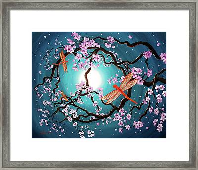 Peace Tree With Orange Dragonflies Framed Print by Laura Iverson