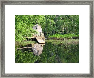Peaceful Cabin Framed Print by Desiree Schmidt