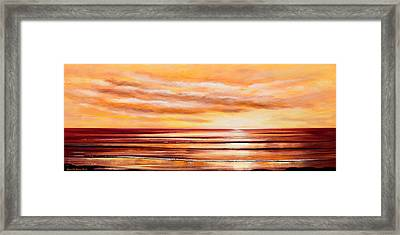 Peacefully Yours - Panoramic Sunset Framed Print by Gina De Gorna