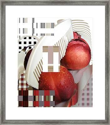 Peach And Haircomb Framed Print by Evguenia Men
