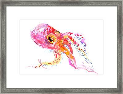 Peach Color Octopus Framed Print by Suren Nersisyan