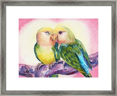 Peach-faced Lovebirds Framed Print by Janet Zeh