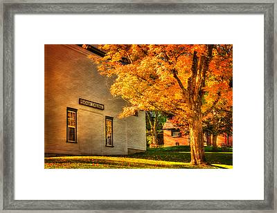 Peacham Town Hall - Vermont In Autumn Framed Print by Joann Vitali