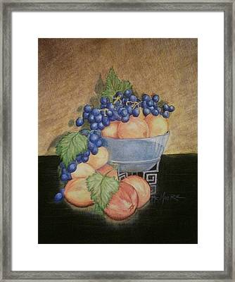 Peaches And Grapes Framed Print by Patricia R Moore