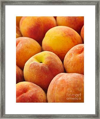 Peaches Background Framed Print by Elena Elisseeva