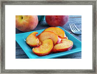Peaches For Lunch Framed Print by Teri Virbickis
