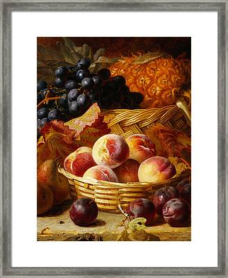 Peaches, Plums, Pears And Pineapple Framed Print by Eloise Harriet Stannard