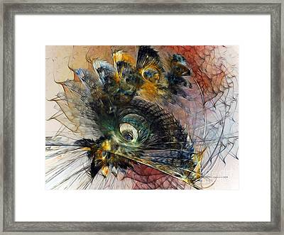Peacock Fan Framed Print by Karin Kuhlmann