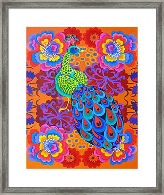 Peacock With Flowers Framed Print by Jane Tattersfield