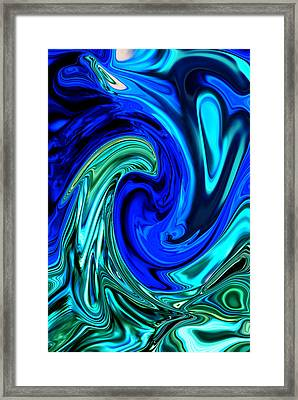 Peacocks Blue Abstract  Framed Print by Michelle  BarlondSmith
