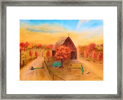 Peacock's In Autumn Framed Print by Ken Figurski