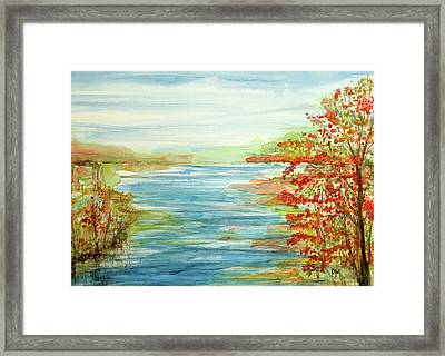Peak At The Lake Framed Print by Pete Maier