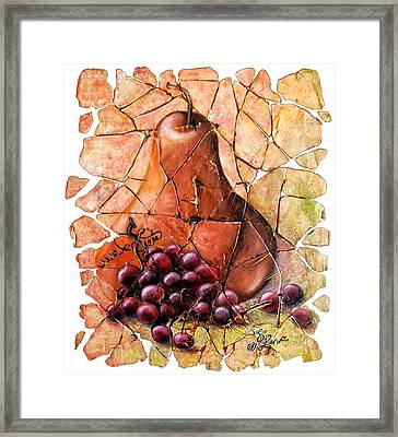 Pear And Grapes Fresco Framed Print by Art OLena