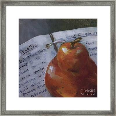 Pear Meets Cookbook Framed Print by Kristine Kainer