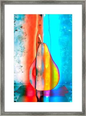 Pear On Ice 02 Framed Print by Carol Leigh