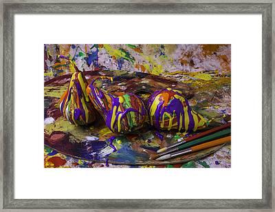 Pear Paint Still Life Framed Print by Garry Gay