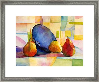 Pears And Blue Bowl Framed Print by Hailey E Herrera