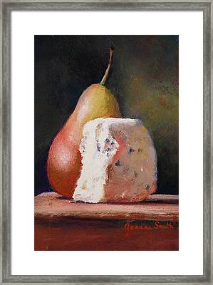 Pears And Gorgonzola Framed Print by Jeanne Rosier Smith