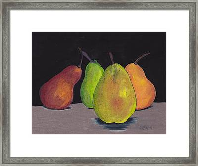 Pears In Colors Framed Print by Lea Velasquez