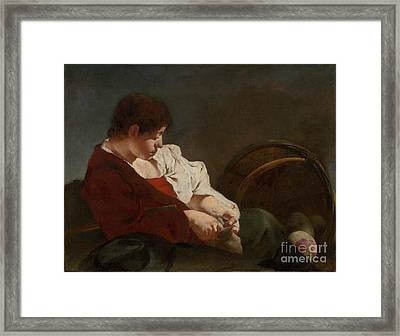 Peasant Boy At A Market  Framed Print by MotionAge Designs