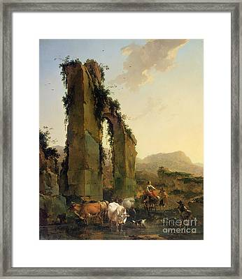 Peasants With Cattle By A Ruined Aqueduct Framed Print by Nicolaes Pietersz Berchem