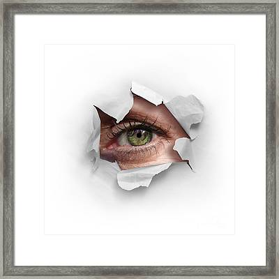 Peek Through A Hole Framed Print by Carlos Caetano