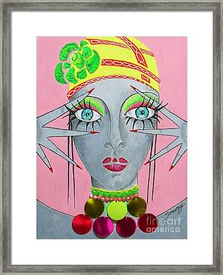 Peekaboo On Pink -- The Original -- Whimsical Portrait Of A Belly Dancer Framed Print by Jayne Somogy