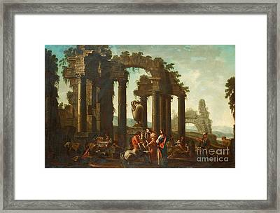 Peleus Consigning Achilles To Chiiron Framed Print by Celestial Images