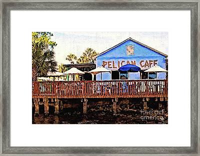 Pelican Cafe Framed Print by Tammy Lee Bradley