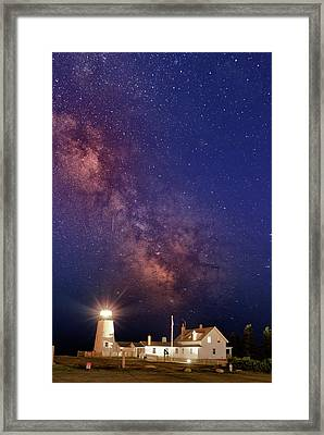 Pemaquid Point Lighthouse And The Milky Way Framed Print by Rick Berk